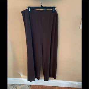 Brown Polyester Wide Leg Pants